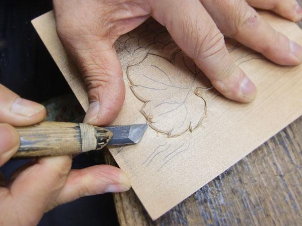 葡萄の葉 彫り方