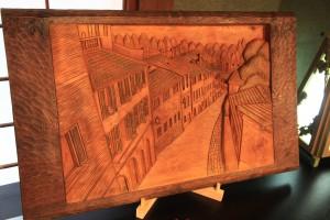 木彫り レリーフ 風景